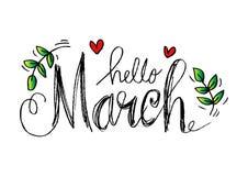 Hola letras de marzo Fotos de archivo libres de regalías