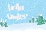 Hola letras del invierno Paisaje de la nieve acumulada por la ventisca del invierno snowing ilustración del vector