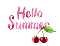 Hola letras del verano y cereza de la acuarela, aislada Imagen de archivo