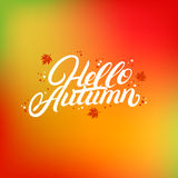 Hola letras escritas mano del otoño con las hojas del amarillo que caen y de la naranja Foto de archivo