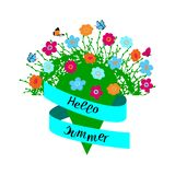 Hola mano del verano dibujada poniendo letras a frase con compositin floral en el fondo blanco stock de ilustración