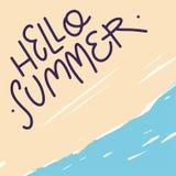 Hola mano del verano dibujada poniendo letras a la composición Ilustración del vector ilustración del vector