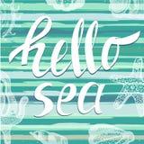 Hola mar con los elementos dibujados mano del mar Letras únicas manuscritas Puede ser utilizado como impresión en las camisetas y Fotografía de archivo libre de regalías