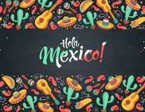 Cinco de Mayo poster. Hola Mexico poster in horizontal stripe composition. Mexican culture symbols collection. Guitar, sombrero, maracas, cactus and jalapeno on