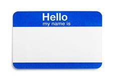 Hola mi nombre es etiqueta fotografía de archivo libre de regalías