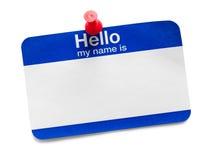 Hola mi nombre es etiqueta con la tachuela Fotografía de archivo