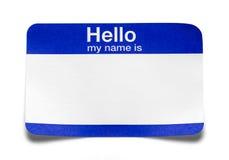 Hola mi nombre es etiqueta doblada imagen de archivo libre de regalías