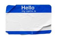 Hola mi nombre es etiqueta usada fotos de archivo