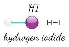 HOLA molécula del yoduro de hidrógeno Fotografía de archivo