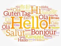 Hola nube de la palabra en otros idiomas Imagenes de archivo