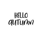 Hola otoño Inscripción moderna manuscrita de la caligrafía Letras del cepillo del vector Foto de archivo libre de regalías