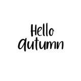 Hola otoño Inscripción moderna manuscrita de la caligrafía Letras del cepillo del vector Foto de archivo