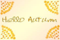 Hola otoño Marco del otoño de pétalos con el otoño de las palabras 'hola ' fotos de archivo
