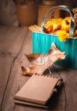 ¡Hola otoño! Todavía vida con el cuaderno en blanco Fotografía de archivo