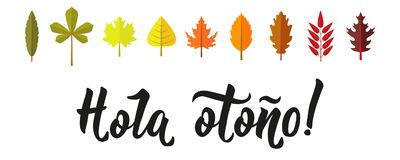 Hola otono Lettering. Spanish translation: Hello autumn. calligraphy vector illustration. Element for flyers, banner and posters. Modern calligraphy Stock Photo