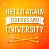 Hola otra vez amigos y tarjeta de felicitación de la universidad Fotografía de archivo libre de regalías