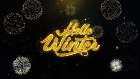 Hola partículas escritas invierno del oro que estallan la exhibición de los fuegos artificiales