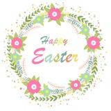 Hola pascua Ejemplo brillante del concepto de la primavera con las flores Guirnalda floral ilustración del vector