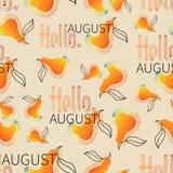 Hola, pera de August Orange con la mordedura tomada stock de ilustración