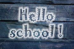Hola pizarra de la escuela imagenes de archivo