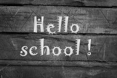 Hola pizarra de la escuela imagen de archivo