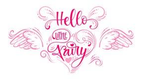 Hola poco Fairyquote Montante moderno exhausto de la escritura de la caligraf?a de la mano que pone letras a frase en la composic libre illustration