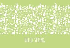 Hola primavera, bandera de Pascua, vector