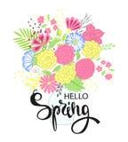 Hola primavera Diseño de letras del dibujo de la mano Postal, invitaciones del partido Ilustración del vector Tarjeta con el ramo stock de ilustración