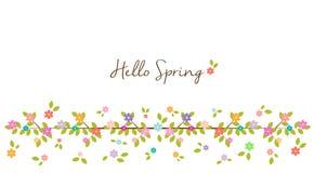 Hola primavera - frontera y fondo florales del arco iris Imagen de archivo