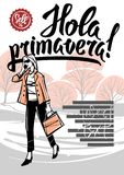 Hola primavera. Girl in the Park in the spring. Girl in the Park in the spring. Against the background of lettering in Spanish. Hola primavera Stock Photo