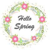 Hola primavera Guirnalda floral stock de ilustración