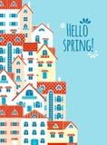 ¡Hola primavera! La composición de las casas libre illustration