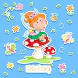Hola primavera - la pequeñas hada y primavera adorables cultivan un huerto Foto de archivo