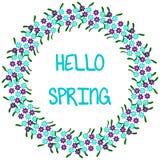 Hola primavera, marco redondo 1-1 ilustración del vector