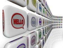 Hola recepción global de las culturas de la diversidad de las idiomas de las palabras Imagen de archivo libre de regalías