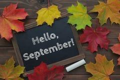 ¡Hola, septiembre! foto de archivo