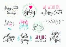 Hola sistema feliz de la tipografía de las letras de Pascua de la primavera Fotografía de archivo