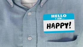 Hola soy etiqueta feliz del nombre Imágenes de archivo libres de regalías