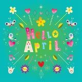Hola tarjeta de felicitación de abril libre illustration