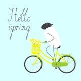 Hola tarjeta de felicitación de la primavera con las ovejas Imagen de archivo libre de regalías