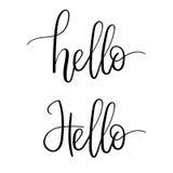 Hola tarjeta de felicitación de las letras de la mano Caligrafía moderna Inscripción del vector Imagen de archivo