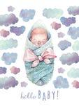 Hola tarjeta de felicitación del bebé Pintado en acuarela imagen de archivo libre de regalías