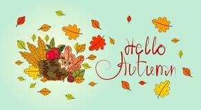 Hola tarjeta de felicitación de la caída de las letras del drenaje de Autumn Season Banner With Hand Fotografía de archivo