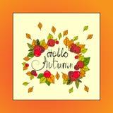Hola tarjeta de felicitación de la caída de las letras del drenaje de Autumn Season Banner With Hand Imagenes de archivo