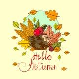 Hola tarjeta de felicitación de la caída de las letras del drenaje de Autumn Season Banner With Hand Fotos de archivo