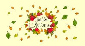 Hola tarjeta de felicitación de la caída de las letras del drenaje de Autumn Season Banner With Hand Foto de archivo