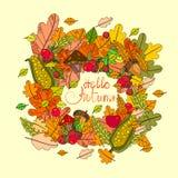 Hola tarjeta de felicitación de la caída de las letras del drenaje de Autumn Season Banner With Hand Imágenes de archivo libres de regalías