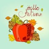 Hola tarjeta de felicitación de la caída de las letras del drenaje de Autumn Season Banner With Hand Imagen de archivo