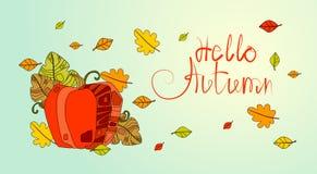 Hola tarjeta de felicitación de la caída de las letras del drenaje de Autumn Season Banner With Hand Foto de archivo libre de regalías