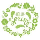 Hola tarjeta de felicitación de las letras de la primavera Ejemplo dibujado mano con la guirnalda y las letras de la flor Imágenes de archivo libres de regalías